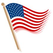 Obama Visit USA waving Flags